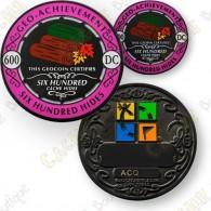 Ce set comprend un géocoin trackable sur  www.geocaching.com  et un pin's assorti.
