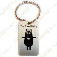 O Travel Buddy é um geocoin muito parecido com um TB: tem o mesmo tamanho, a mesma forma, possui um fiozinho e viaja de cache a cache.
