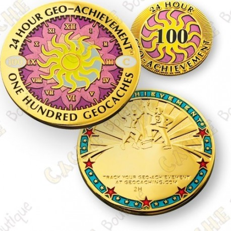 Geo Achievement® 24 Hours 100 Caches - Coin + Pin's