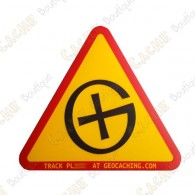 "Sticker ""Warning! Geocaching"" trackable"