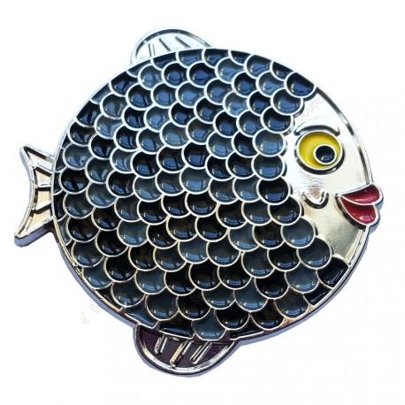 "Geocoin ""Rainbow Fish"" - Dark on White Silver LE"