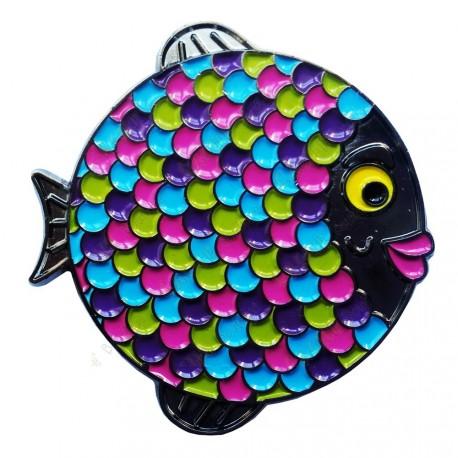 """Geocoin """"Rainbow Fish"""" - Neon Black Nickel LE"""