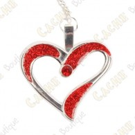 "Géocoin Collier ""Eternal Love"" - Rouge / Argent"