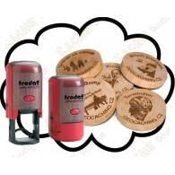 Carimbo + Wood coins personalizados x 50