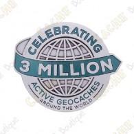"""Geocoin """"3 Milhões Geocaches"""" - Silver"""