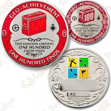 Geo Achievement 100 Finds - Coin + Pin's