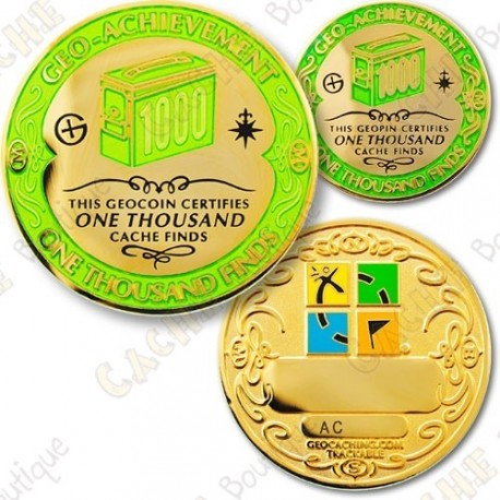 Geo Achievement 1000 Finds - Coin + Pin