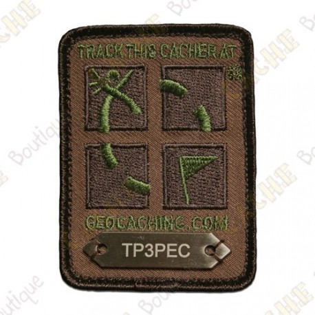Quatro Colores Geocaching Logo Trackable Patch Quatro Colores