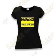 "T-Shirt ""Caution"" Femme - Noir"