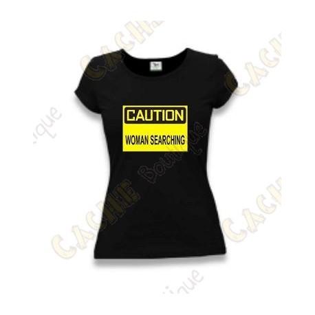 """T-Shirt """"Caution"""" Mulheres - Negro"""