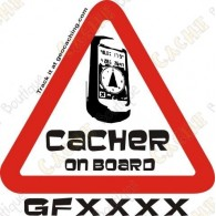 "Sticker ""Cacher on board"" trackable"