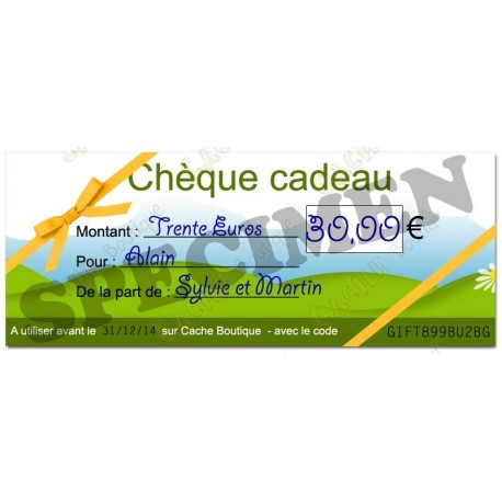 Chèque cadeau - Valeur 30€ - Cache Boutique