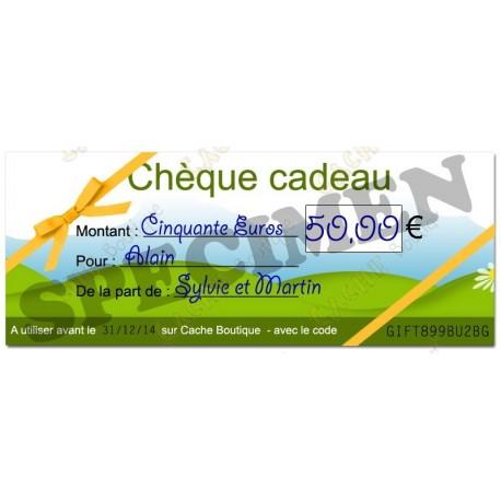 Chèque cadeau - Valeur 50€ - Cache Boutique