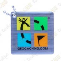 Traveler avec logo officiel Geocaching.   Ce géocoin est trackable sur  www.geocaching.com .