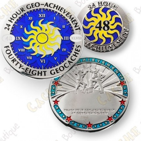 Geo Achievement® 24 Hours 48 Caches - Coin + Pin's