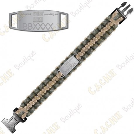 Bracelet Paracorde Trackable - Geocaching - Kaki / Beige