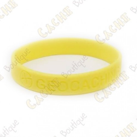 pulseira de silicone - Geocaching, this is our world - Amarelo