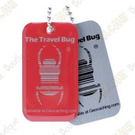 Official Groundspeak Travel Bug with a QR code on the back.