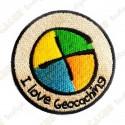 """I love Geocaching"" round patch"