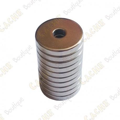 Magnets neodymes anneaux 12x3x2mm - Lot de 10