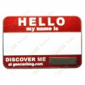 Name tag trackable - Purpurina roja