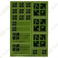 Planche de 18 stickers avec logo officiel du géocaching sur fond vert.