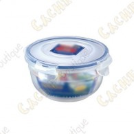 Boîte ronde en plastique solide, 100% hermétique, avec 4 rabats et joint en silicone.