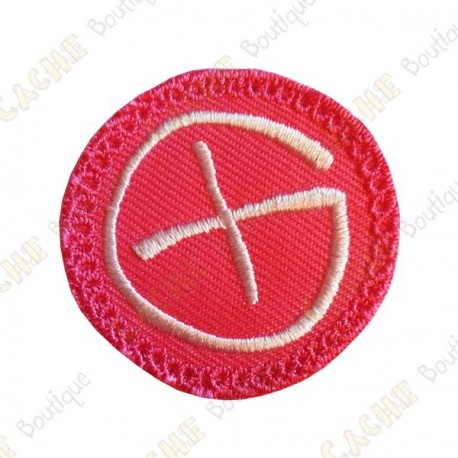 Patch geocaching rond - Rose / Blanc