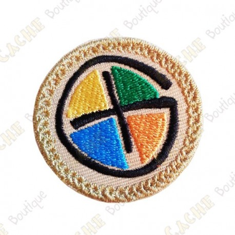Patch geocaching rond - Quadri / Beige