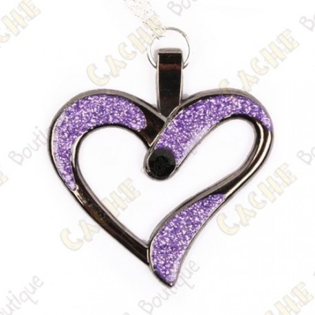 "Géocoin Collier ""Eternal Love"" - Violet / Black Nickel"