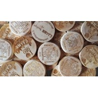 Géocoins en bois personnalisés x 500