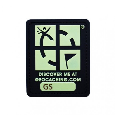Patch Geocaching trackable - Noir phosphorescent