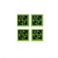 Conjunto de 4 mini stickers com o logotipo oficial do geocaching sobre fundo verde.