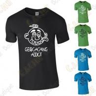 "Camiseta ""Geocaching Addict"" Hombre - Negra"