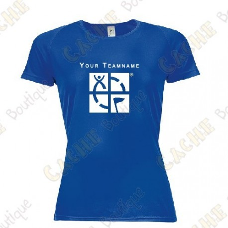 Camiseta técnica con Teamname, Mujer - Negra