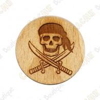 Géocoin en bois - Pirate