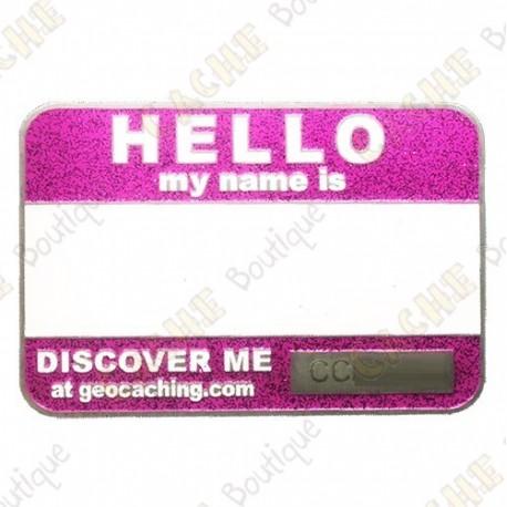 Name tag trackable - Violet pailleté