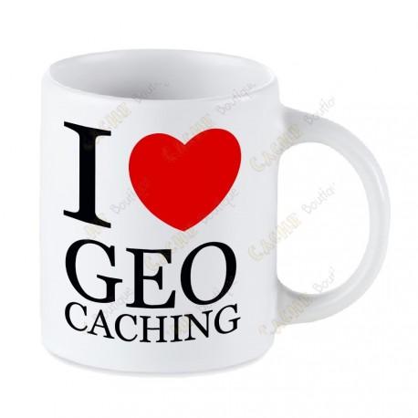 Caneca Geocaching branca - I love Geocaching