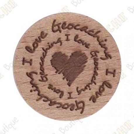 Géocoin en bois - I love Geocaching