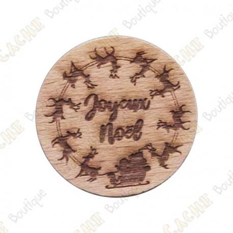 Géocoin en bois - Joyeux Noël