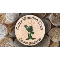 Géocoins en bois Couleur personnalisés x 50