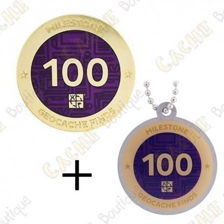 "Geocoin + Travel Tag ""Milestone"" - 100 Finds"