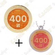 "Geocoin + Traveler ""Milestone"" - 400 Finds"