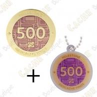 "Geocoin + Travel Tag ""Milestone"" - 500 Finds"
