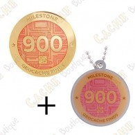 "Geocoin + Travel Tag ""Milestone"" - 900 Finds"