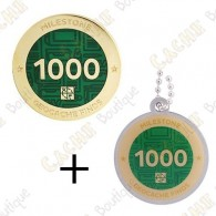 "Geocoin + Traveler ""Milestone"" - 1000 Finds"