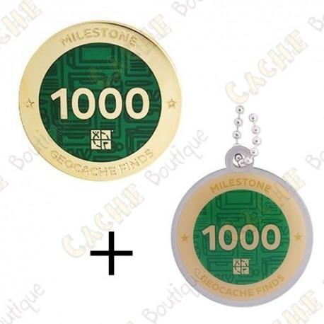 "Geocoin + Traveler ""Milestone"" - 1000 Finds"