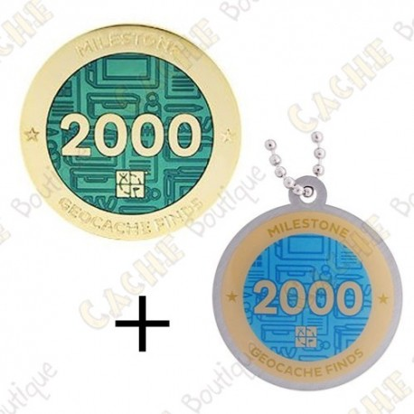 "Geocoin + Traveler ""Milestone"" - 2000 Finds"