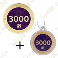 "Geocoin + Traveler ""Milestone"" - 3000 Finds"