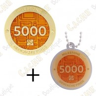 "Geocoin + Travel Tag ""Milestone"" - 5000 Finds"